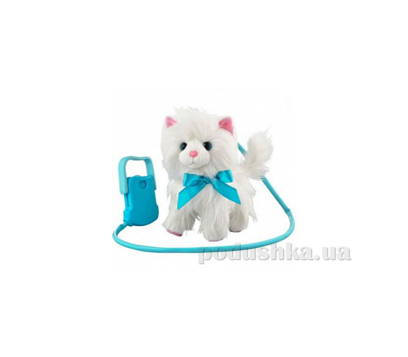 Интерактивная игрушка Пушистик на прогулке  Белый с голубым поводком