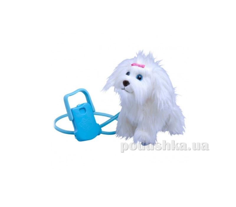 Интерактивная игрушка Пушистик на прогулке Белый, синий поводок