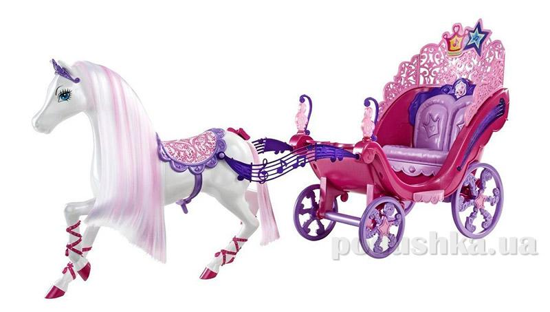 Интерактивный конь с каретой из мультфильма Барби Barbie Принцесса и Поп-звезда Mattel Х4317