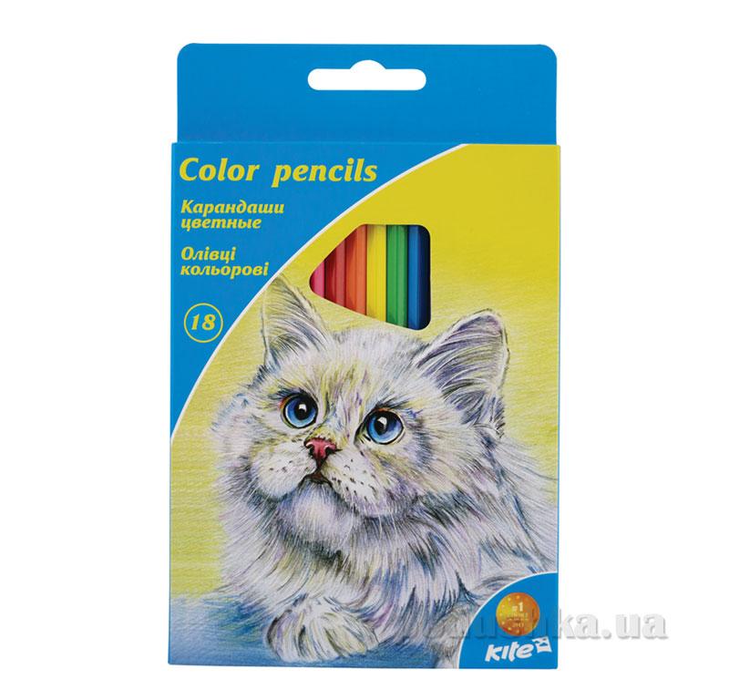 Карандаши цветные 18 шт Kite K15-052K