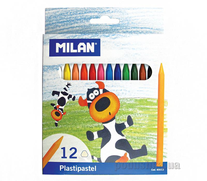 Карандаши восковые Milan, комплект из 12 цветов