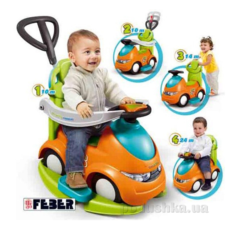 Каталка Feber Push N'go 4 в 1 Оранжево-зеленая 800008372