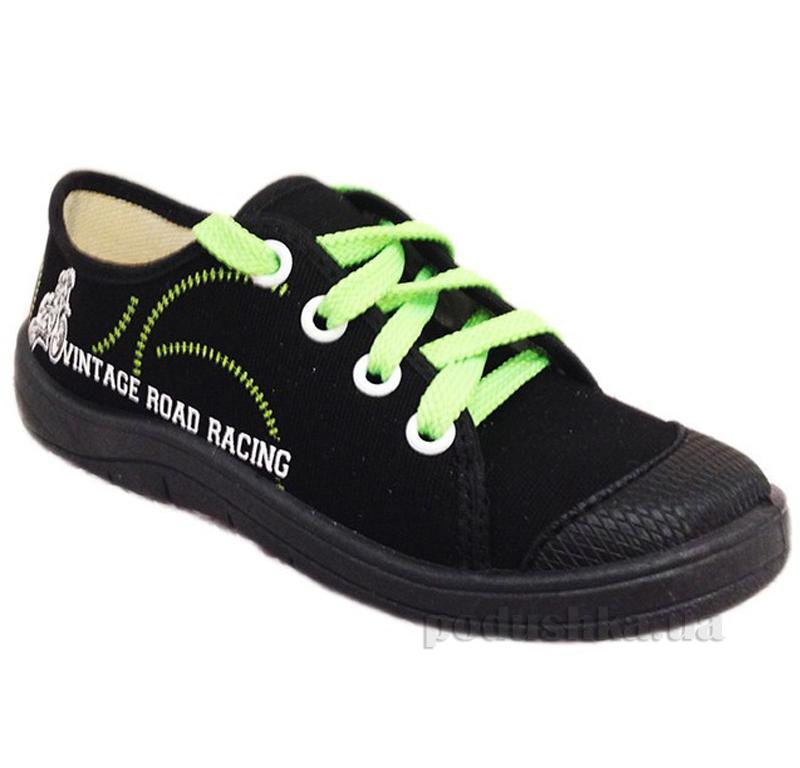 Кеды Waldi 51-146-2 черные с салатовой шнуровкой
