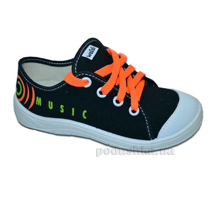Кеды Waldi 51-179-1 черные с оранжевой шнуровкой