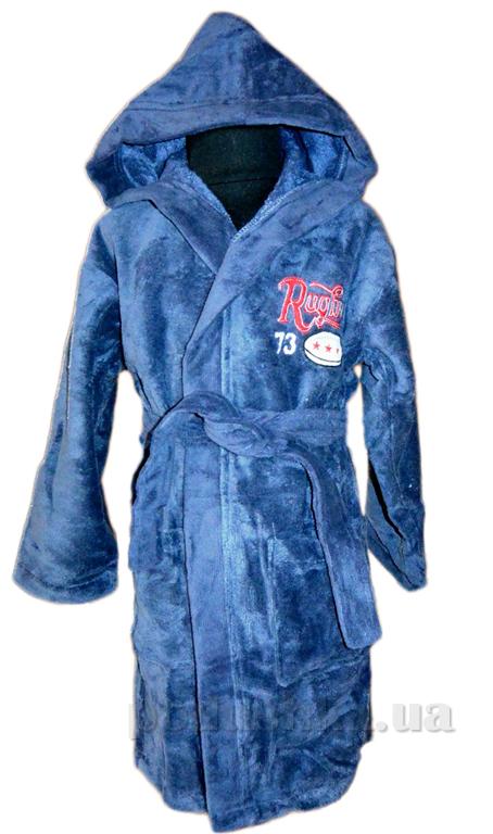 Халат детский Nusa Регби серо-синий