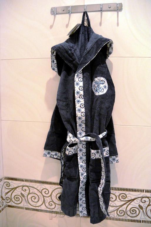 Халат детский Nusa Якорь тёмно-серый