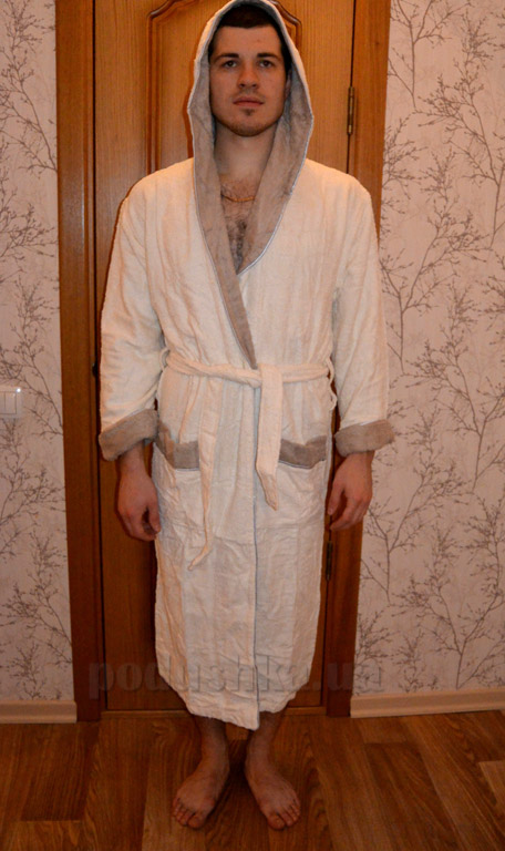 Халат длинный с капюшоном Mariposa Крем