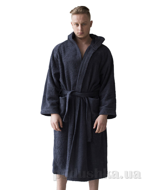 Халат махровый мужской с капюшоном Sleeper Set Graphite Men Bath Robe L/XL  Sleeper Set
