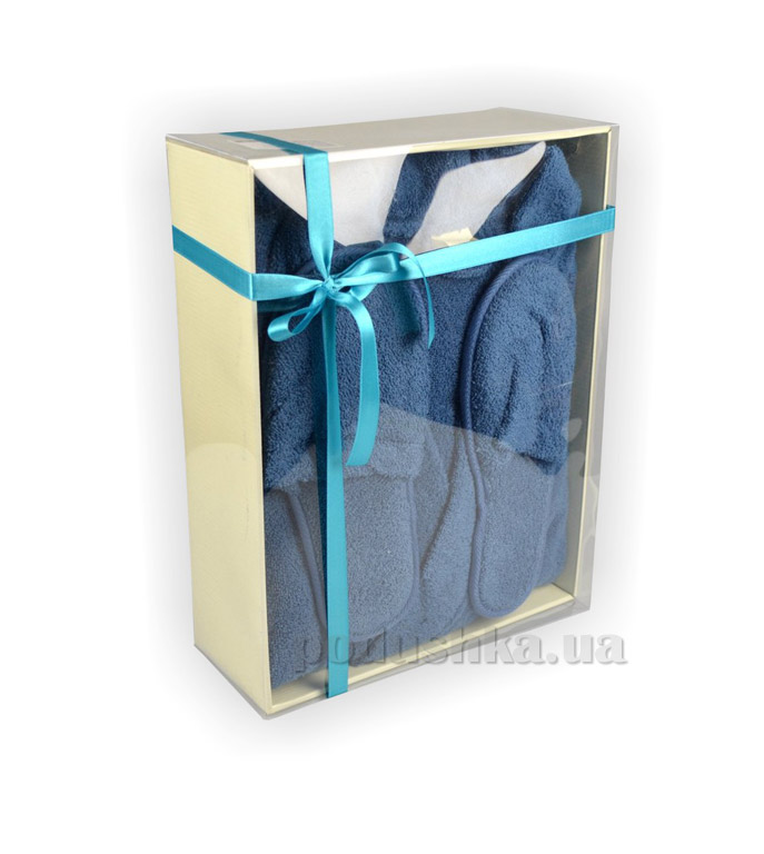 Халат мужской LMN синий с тапочками