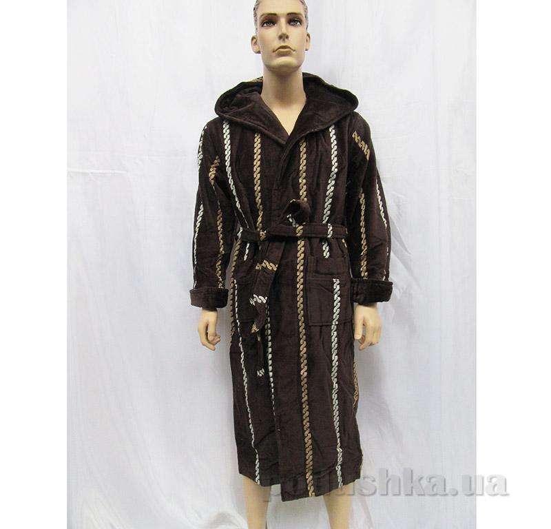 Халат мужской с капюшоном Arya 13540 коричневый