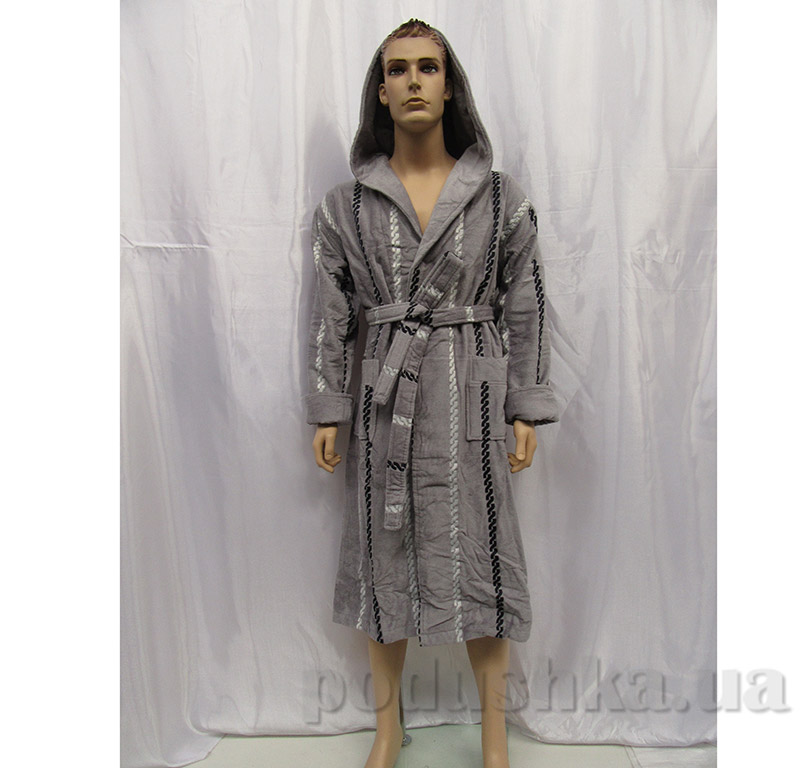 Халат мужской с капюшоном Arya 13540 серый