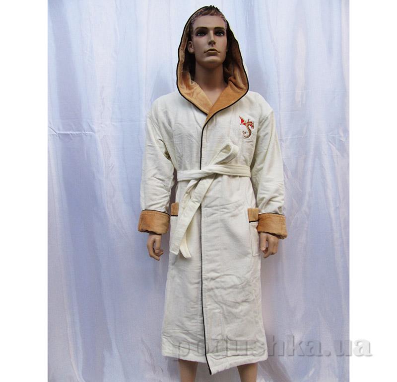 Халат мужской с капюшоном Arya 13540 светло-кремовый