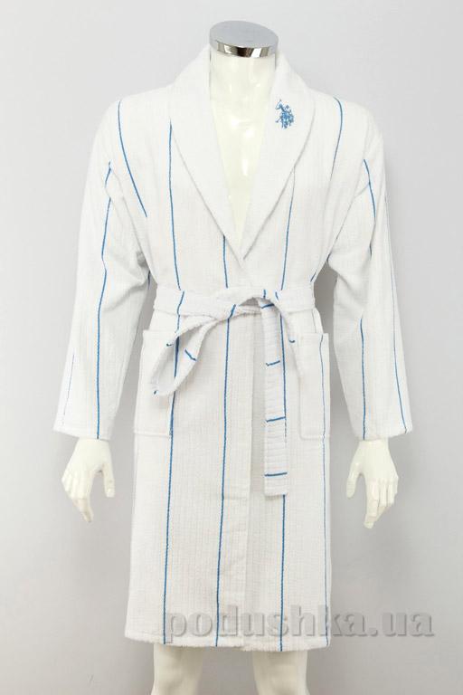 Халат мужской U.S. Polo Assn Casper белый с голубым