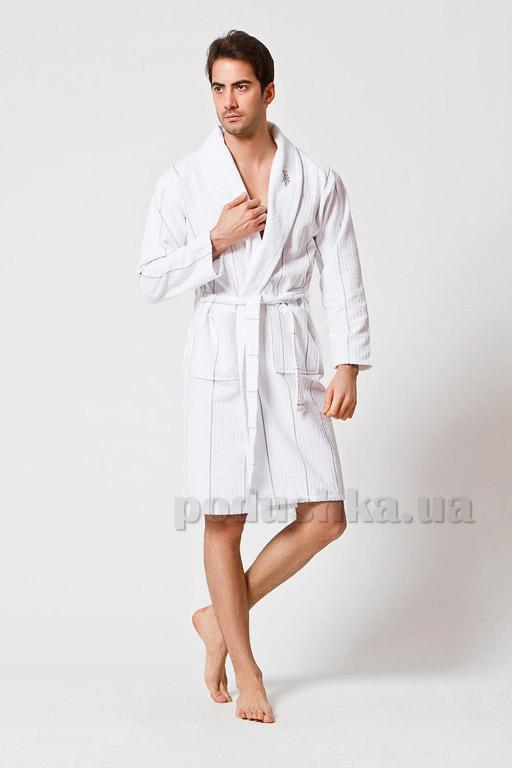 Халат мужской U.S. Polo Assn Casper белый с серым