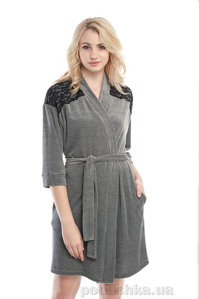 Халат женский Ellen LDG 011/002 серый с кружевом