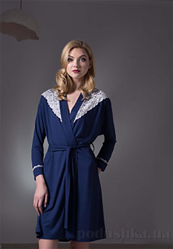 Халат женский Ellen LND 028/001 темно-синий S  Ellen