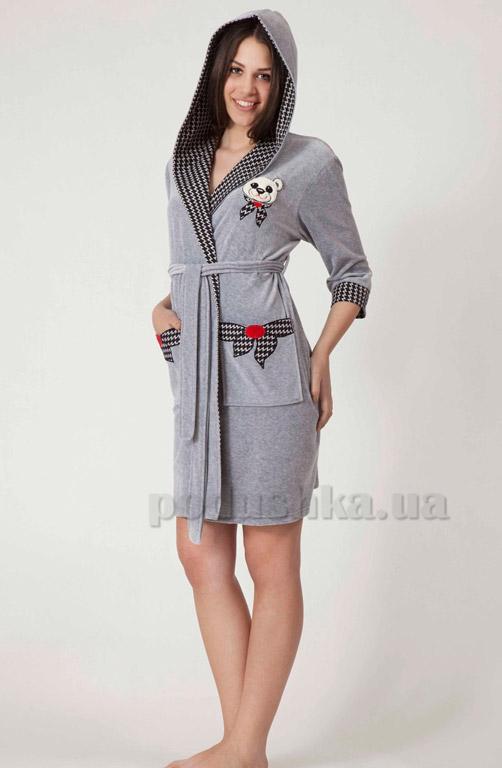 Халат женский короткий с капюшоном Nusa NS-063
