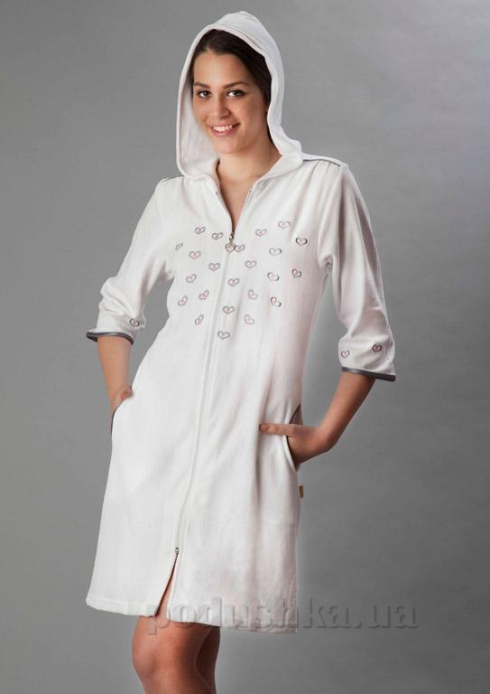 Халат женский короткий велюровый с капюшоном Nusa NS-625-1