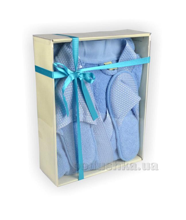 Халат женский LMN голубой с тапочками