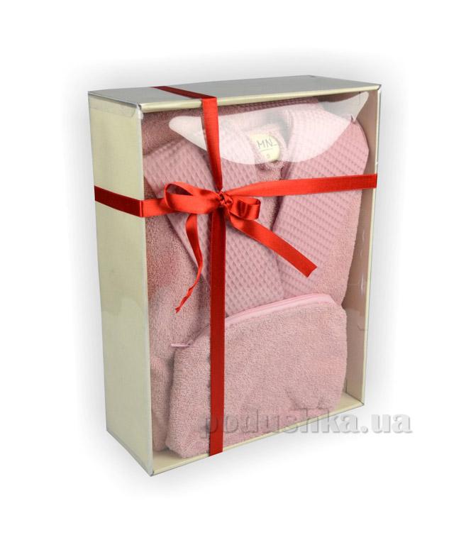 Халат женский с капюшоном LMN розовый с косметичкой