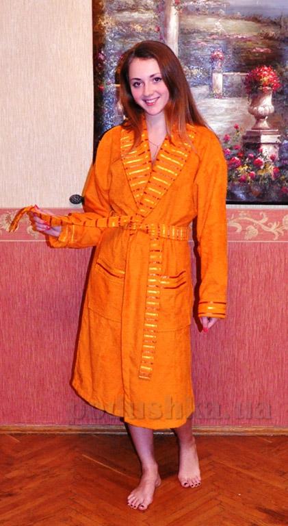 Халат женский махровый длинный Mariposa оранжевый
