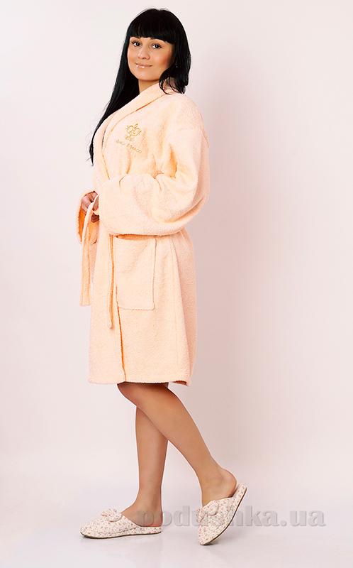 Халат женский махровый Marca Marco Milano персиковый