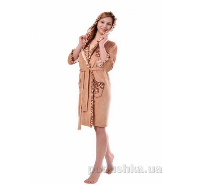 Халат женский на поясе Arya 13125 коричневый