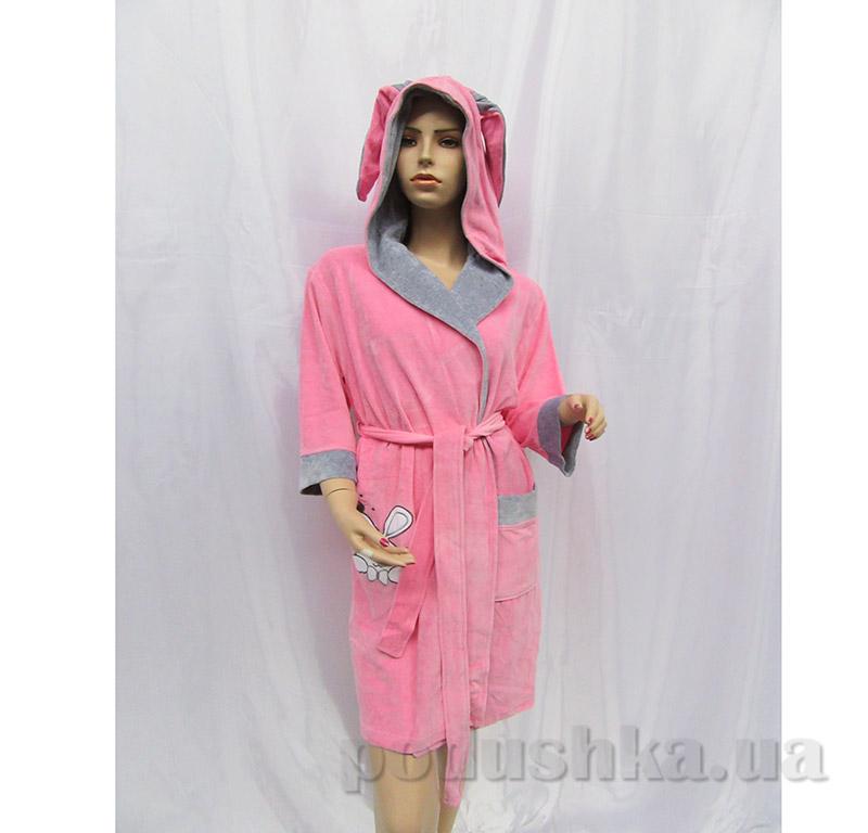 Халат женский на поясе с ушками Arya 13190 розовый