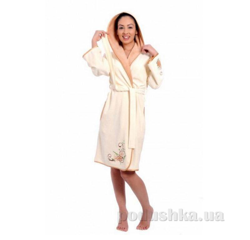 Халат женский с капюшоном Arya 13085 кремовый