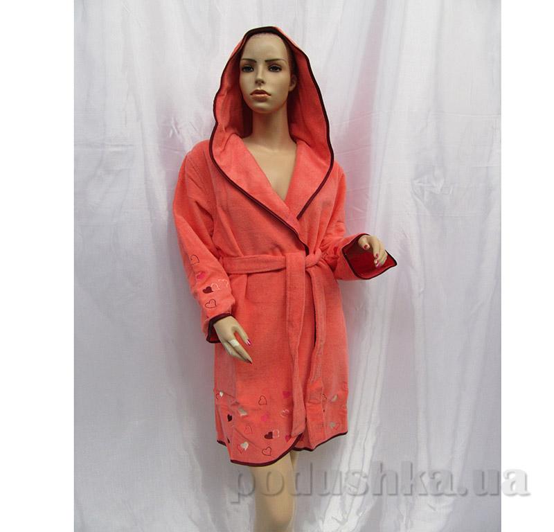 Халат женский с капюшоном Arya 13405 коралловый S/M  ARYA