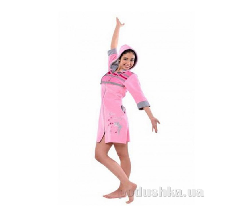 Халат женский на молнии Arya 13205 розовый