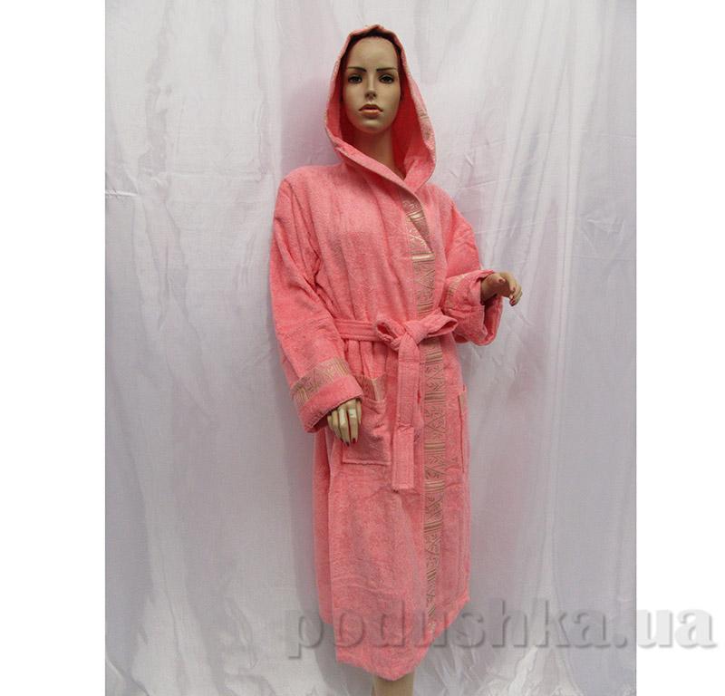 Халат женский с капюшоном Шалька Arya 13430 персиковый