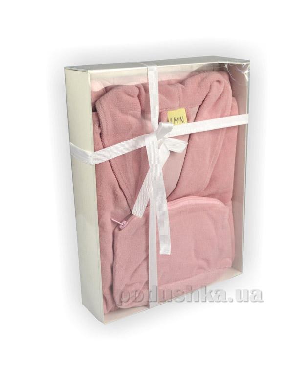 Халат женский с шалевым воротником LMN розовый с косметичкой