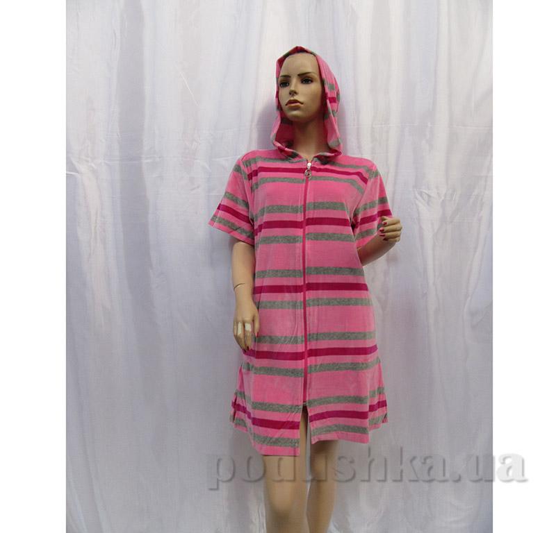 Халат женский с застежкой молния Arya 13170 розово-серый