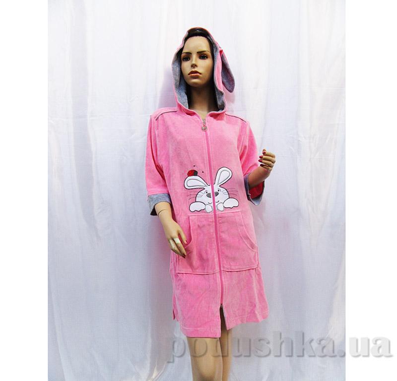 Халат женский с застежкой молния и ушками Arya 13195 розовый