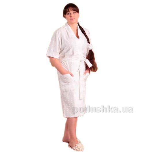 Халат женский трикотажный Melisa белый с коротким рукавом