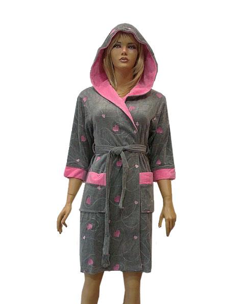 Халат женский велюровый короткий с капюшоном Nusa NS-8125