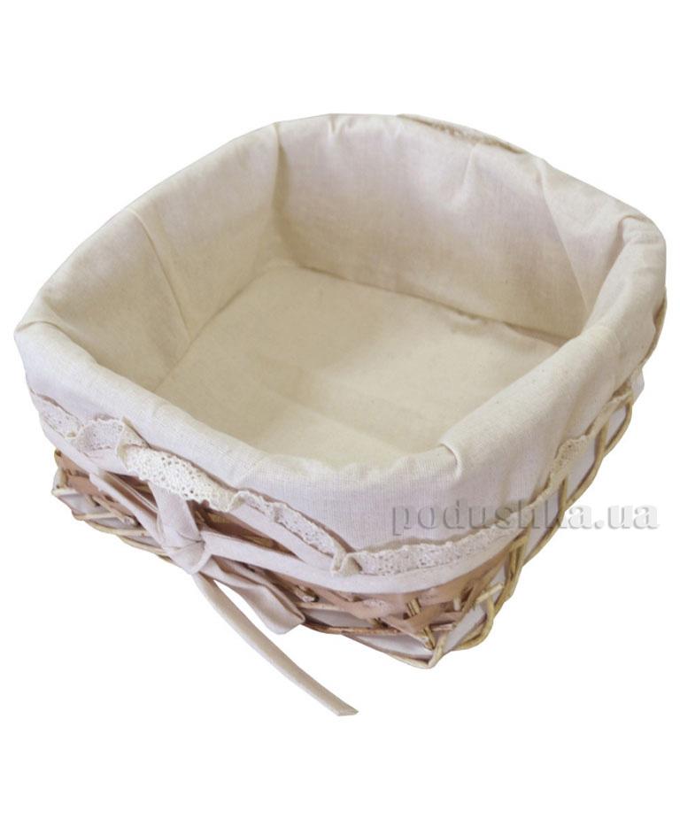 Хлебница-корзинка плетеная с чехлом Прованс Натурал с кружевом