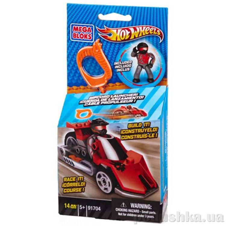 ХотВилс Набор конструктора с мех ускорителем Красный гоночный автомобиль 91704 Mega Bloks