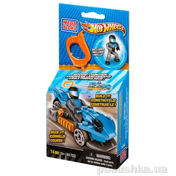 ХотВилс Набор конструктора с мех ускорителем Синий гоночный автомобиль 91703 Mega Bloks
