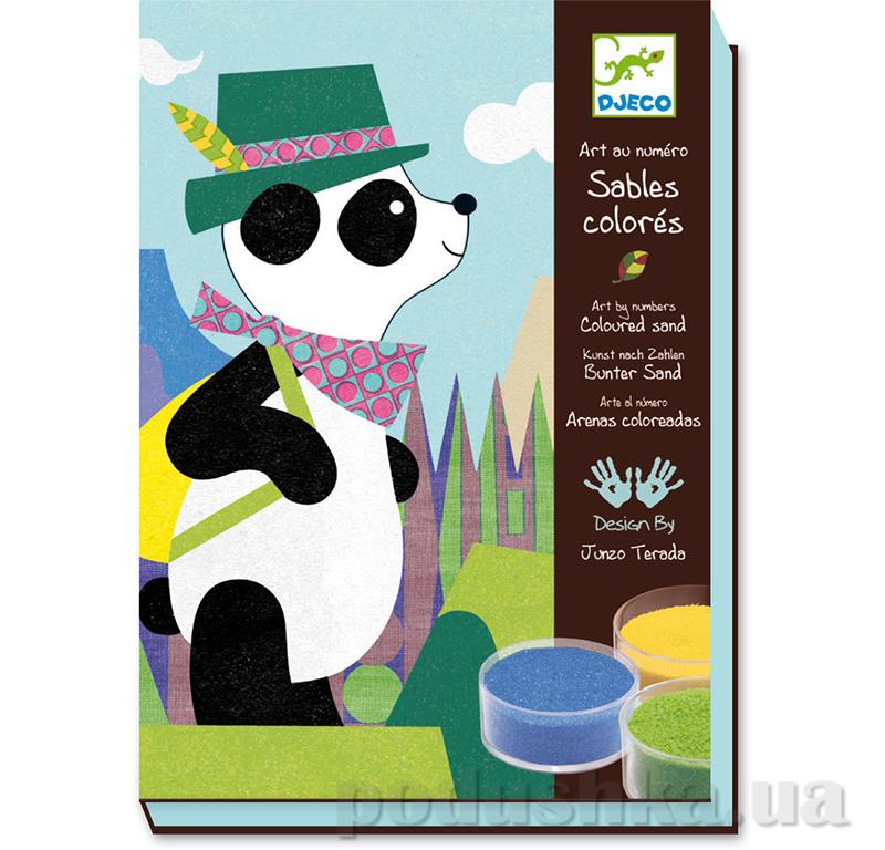 Художественный комплект рисование цветным песком Панда и его друзья Djeco