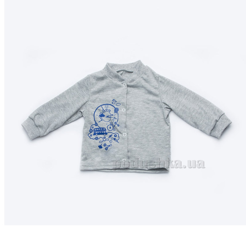 Кофточка для новорожденного мальчика из кулира Модный карапуз 303-00006 серая