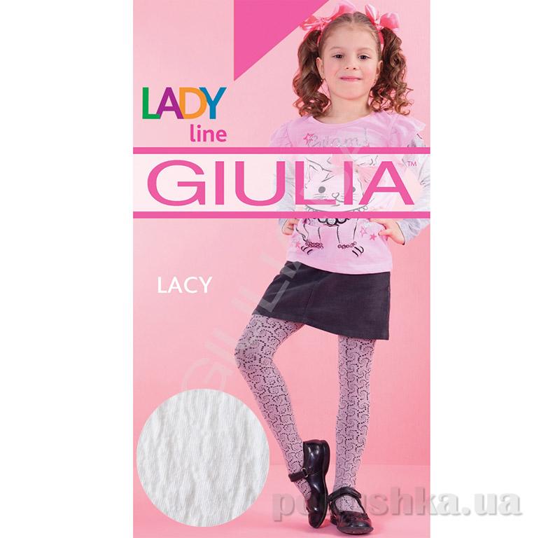 Колготки белые хлопковые c рисунком 120 den Lacy Giulia Bianco