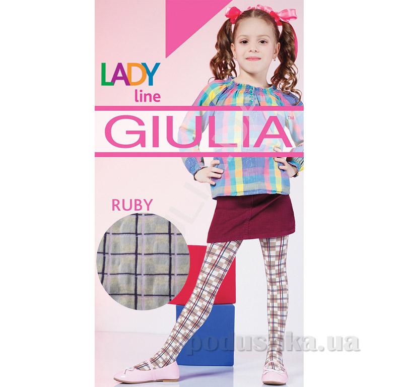 Колготки бежевые в клетчатый рисунок теплые 150 den Ruby Giulia Panna