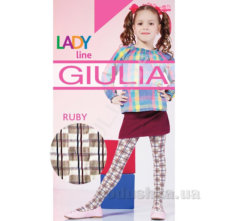 Колготки бежевые в клетку теплые 150 den Ruby Giulia Beige