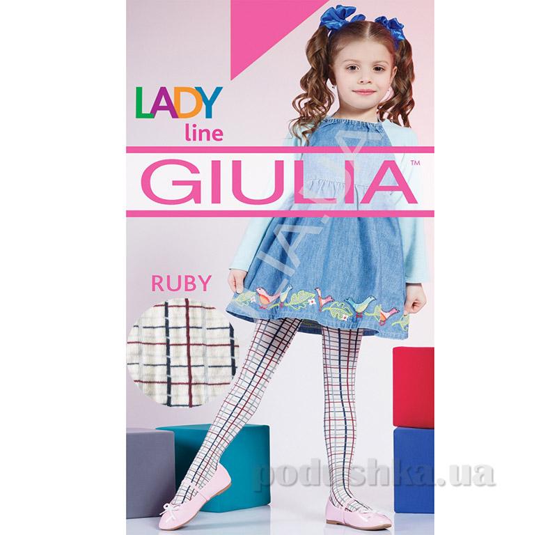 Колготки бежевые в клетку теплые 150 den Ruby Giulia Panna