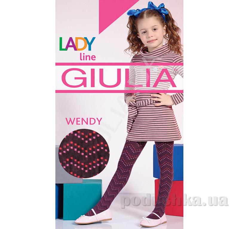 Колготки бордовые с рисунком теплые 150 den Wendy Giulia Grape