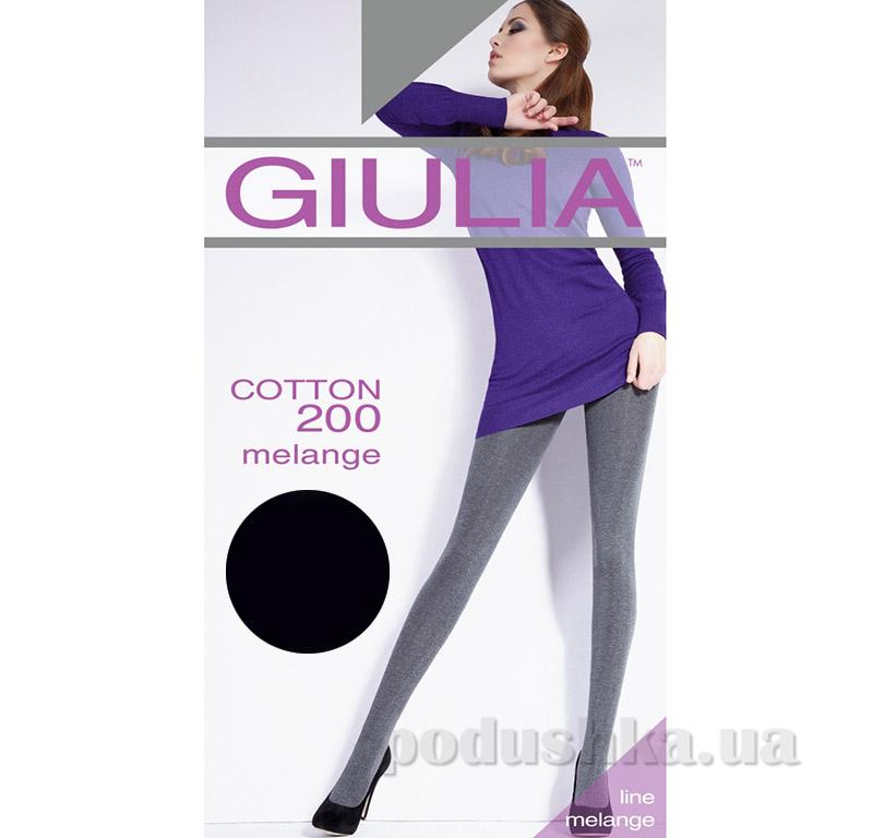Колготки черные меланжевые 200 Den Giulia Cotone melange Nero