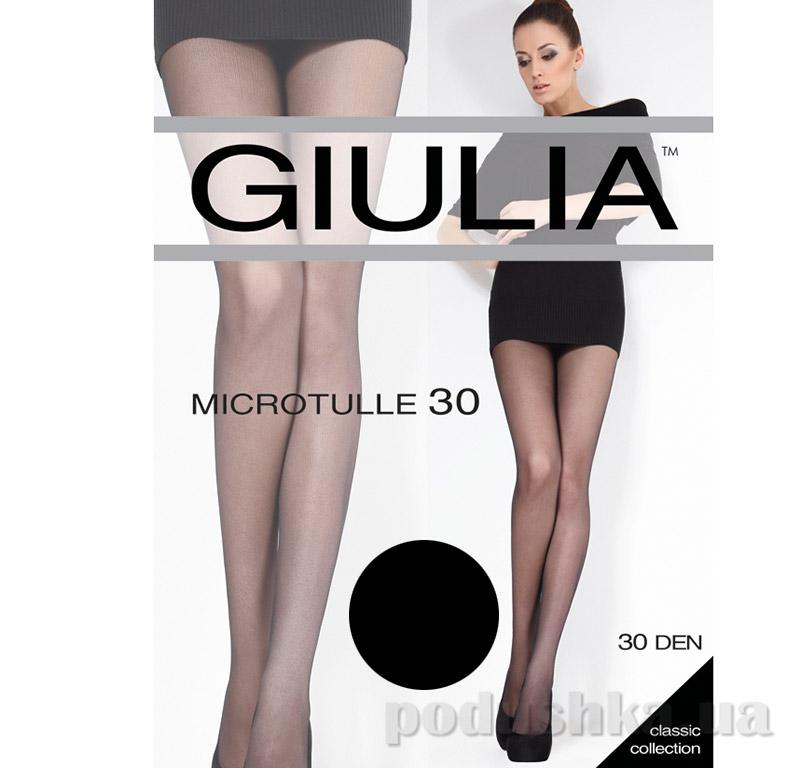 Колготки черные с эффектом тюля 30 Den Microtulle Giulia Nero