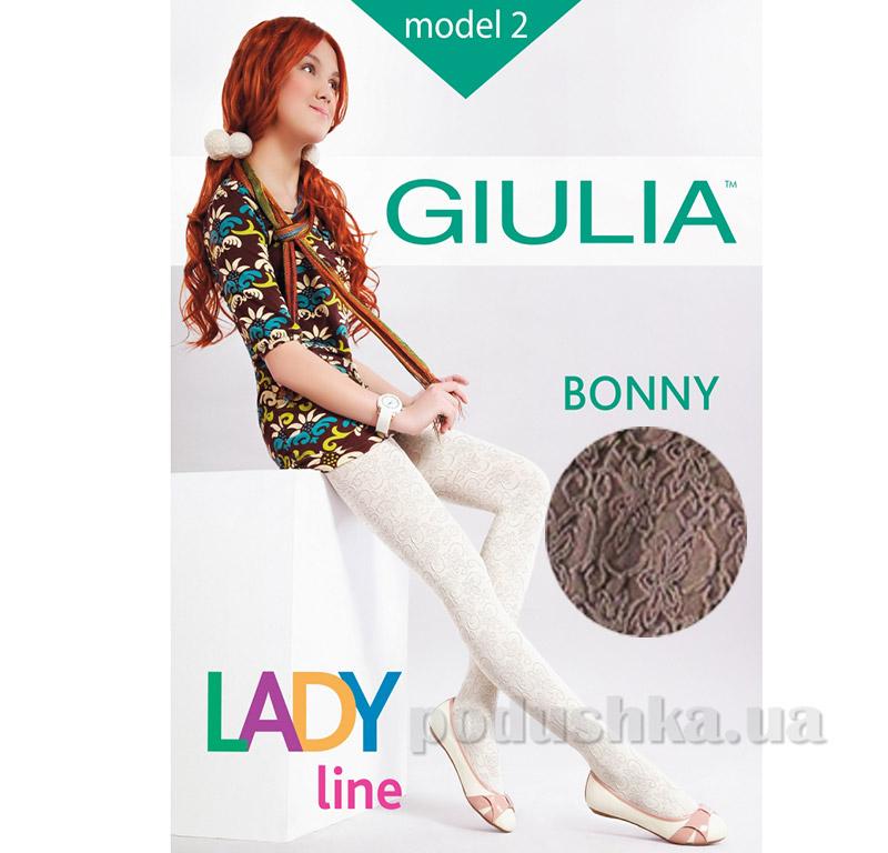 Колготки коричневые для девочки с кружевным эффектом 60 den Bonny Giulia latte